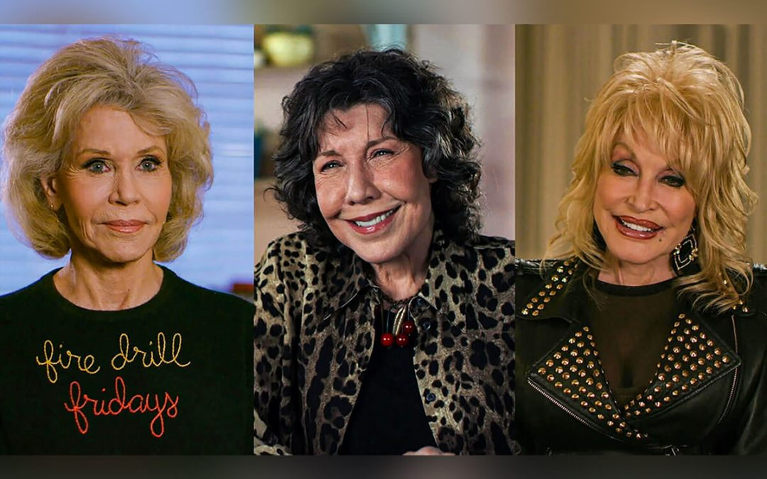 """Dolly Parton, Lily Tomlin, & Jane Fonda Look Back on 9 to 5 in """"Still Working 9 to 5"""" the documentary."""